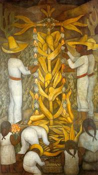 The Maize Festival ,La fiesta del maiz, from the cycle,Political Vision of the Mexican People